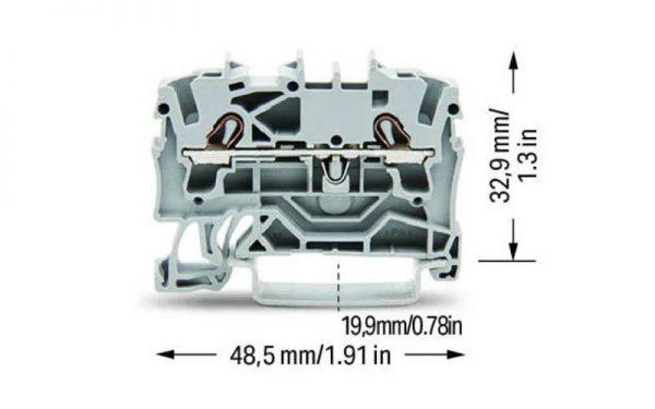 ترمینال ریلی فشاری-فنری (Push wire)  سایز 2/5 طوسی میلیمتر مربع