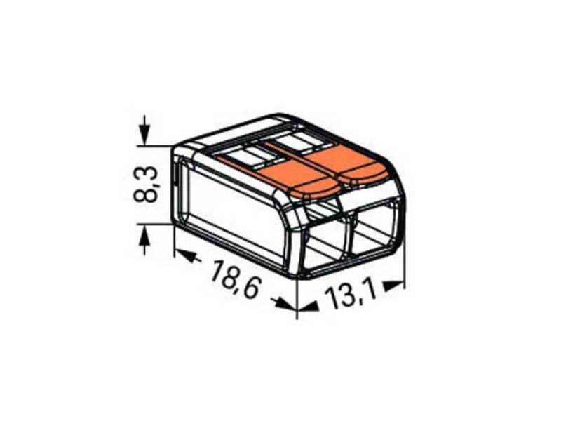 کانکتور شفاف اهرمی دسته نارنجی تا سیم سایز 4 (دوتائی)