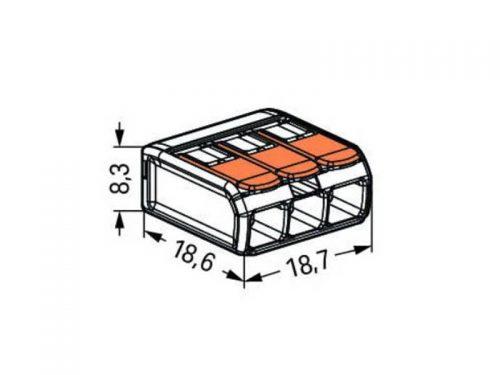 کانکتور شفاف اهرمی دسته نارنجی تا سیم سایز 4 (سه تائی)