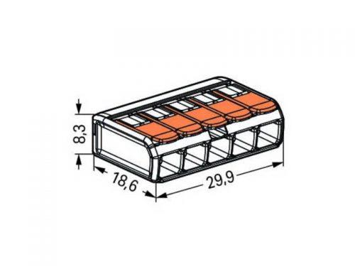 کانکتور شفاف اهرمی دسته نارنجی تا سیم سایز 4 (پنج تائی)