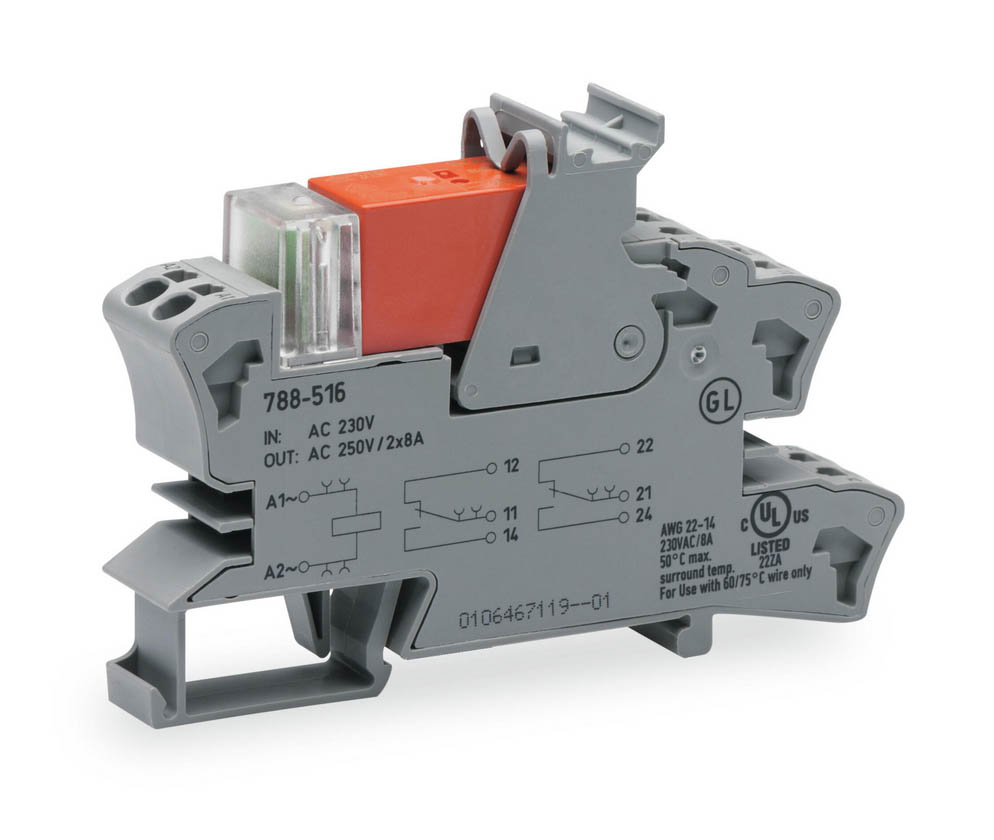Rail mount relay 230Vac 2CO250V8A